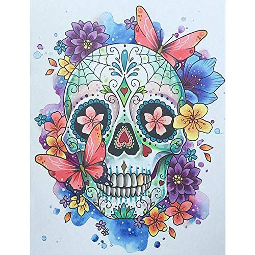 5D DIY Diamond Painting by Number Kits,DIY Diamond Painting kit for Hone Wall Decoration Butterfly Skull 15.7x19.7 in by Lazodaer