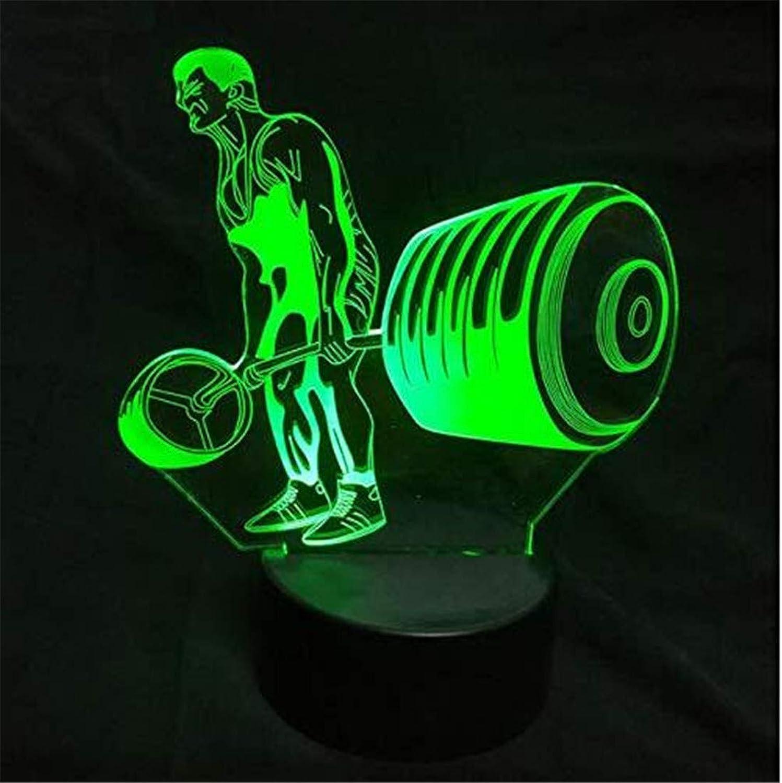 Led Lichter Edison Lichter Neuheit Gewichtheben 3D Nachtlicht 7 Farbwechsel Acryl Usb Visuelle Schreibtischlampe