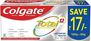 Colgate Total Whole Mouth Health, Antibacterial Toothpaste, 185g (Advanced Health, Saver Pack )