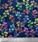 Soimoi Blau Satin Seide Stoff lila Blumen- Stoff Meterware