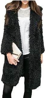 Womens Outwear Faux Fur Lapel Thick Wool Trench Coat Lapel Winter Jacket