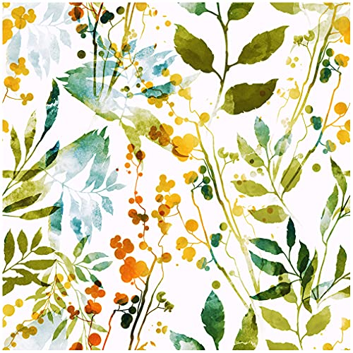 Blooming Wall Watercolor Green Blue Yellow Leaf Peel and Stick Wallpaper Removable Self Adhesive Wall Mural Wall Decor, 14.5 Square Ft/Roll