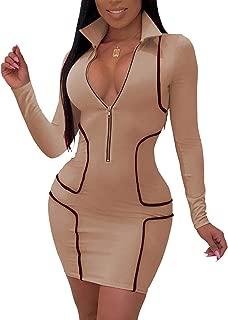 Women's Sexy Zipper Front Deep V Neck Bodycon Mini Club...