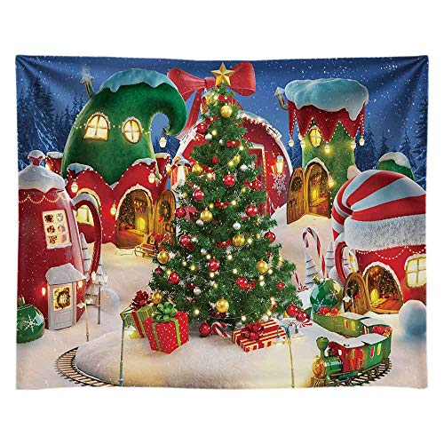 Funnytree 10x8FT Cartoon Christmas Village Photography Backdrop Winter Cabin Snow Pine Tree Background Xmas Fairy Tale Animated Kid Ice Party Photo Booth Banner Supplies Durable Soft Fabric Washable