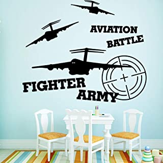 WSYYW Drop Shipping Fighter Army Self-Adhesive Adhesive Vinyl Waterproof Wall Art Decal Child Room Decoration Art Pink XL 57cm X 69cm