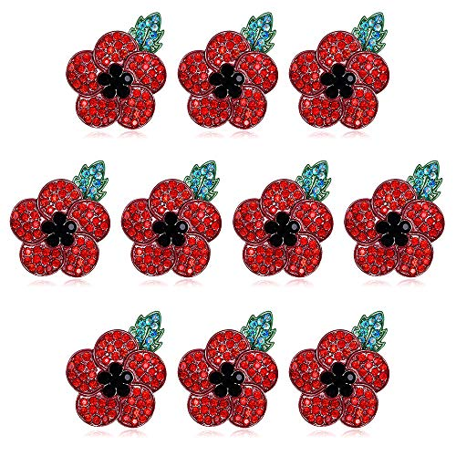 babytowns 10pcs Poppy Flower Brooch Lapel Pin Crystal Diamante Enamel Badges Ribbon Red Flowers for Banquet Legion Remembrance Day Gift