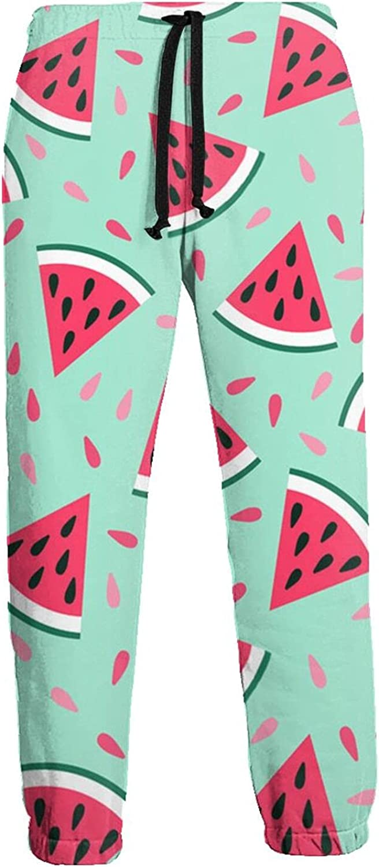 KAWAHATA Watermelon Men's Pants with Pockets Tapered Athletic Sweatpants 3D Casual Active Sports Pants
