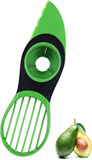 Avocado Slicer, 3 in 1 Avocado Slicer Tool Works as a Splitter, Pitter, Peeler, Knife and Cutter with Good Grips Handle, Multifunctional Avocado Knife, Green