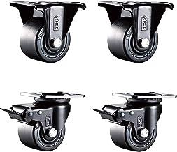 4 stks Meubilair Caster, Vaste Caster & Rem Lock Universal Wheel Combinatie, Heavy Duty Low Center of Gravity Casters, 2,...