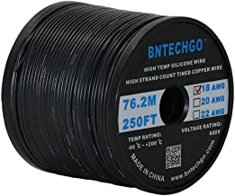 BNTECHGO 18 Gauge Silicone wire spool 250 ft Black Flexible 18 AWG Stranded Tinned Copper Wire