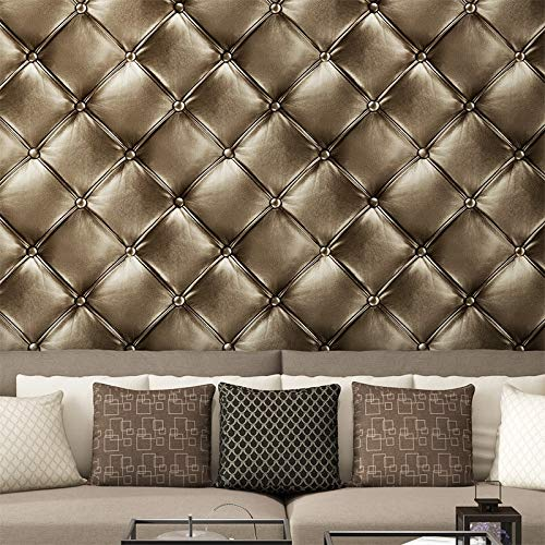 Lxsart behang Europese luxe simulatie leer achtergrond muur papier eenvoudige slaapkamer woonkamer zacht pakket behang 400cmx280cm
