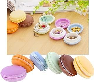 HengKe Macaron Case, Mini Macaron Box 6Pcs Jewelry Storage Box Pill Box Organizer Earphone Container Multiuse Macaron Case, Assorted Colors (Small 6 pcs)