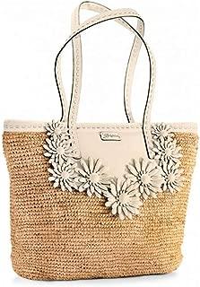 Brighton Florabunda Natural Raffia & Cream Leather Daisy Trim Tote Handbag