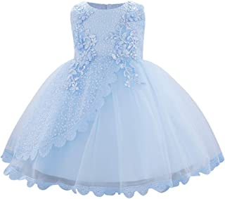 OBEEII Baby Girl Christening Baptism Gown Flower Embroidery Tutu Dress Special Occasion Blue 6-9 Months