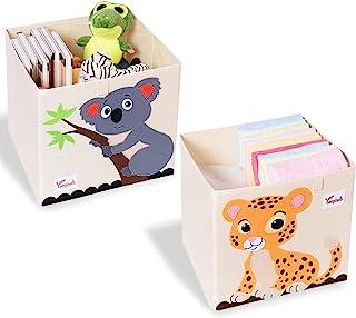 SITAKE Lot de 2 Coffre a Jouet avec Couvercle - 33*33*33 cm Boîte de Rangement Enfants - Enfants Cube de Rangement pour Jo...