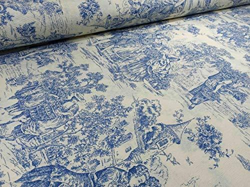 RIVERO TEJIDOS. Tejido de loneta con estampado Toile de Jouy con 280 cm de ancho. Se vende por metros. Ideal para la confección de cortinas, manteles.