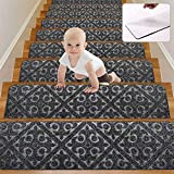 Wotoban Stair Treads Carpet Non Slip Indoor Set of 15 Carpet Stair Treads 8' X 30' Self Adhesive Stair Rugs Mats Runners Safety Slip Resistant for Kids, Elders and Dogs, Grey
