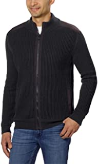 Calvin Klein Men's Full Zip Knit Sweater Mock Collar Puddle Grey