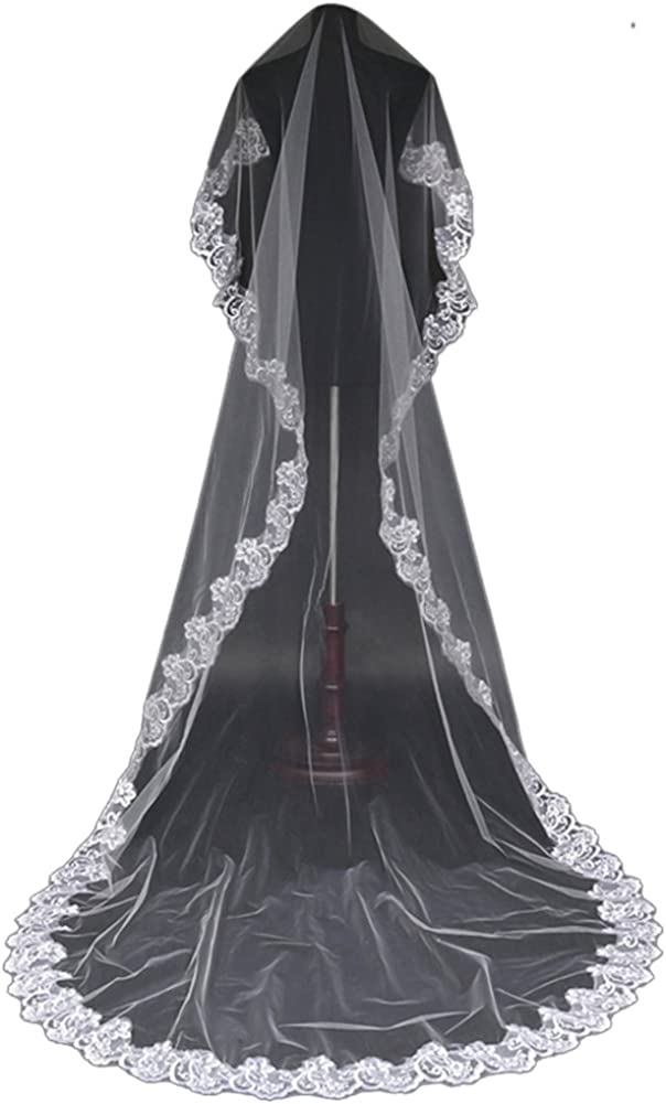 Chickle Women's Lace Applique Long Trailing Chapel Bridal Wedding Veils