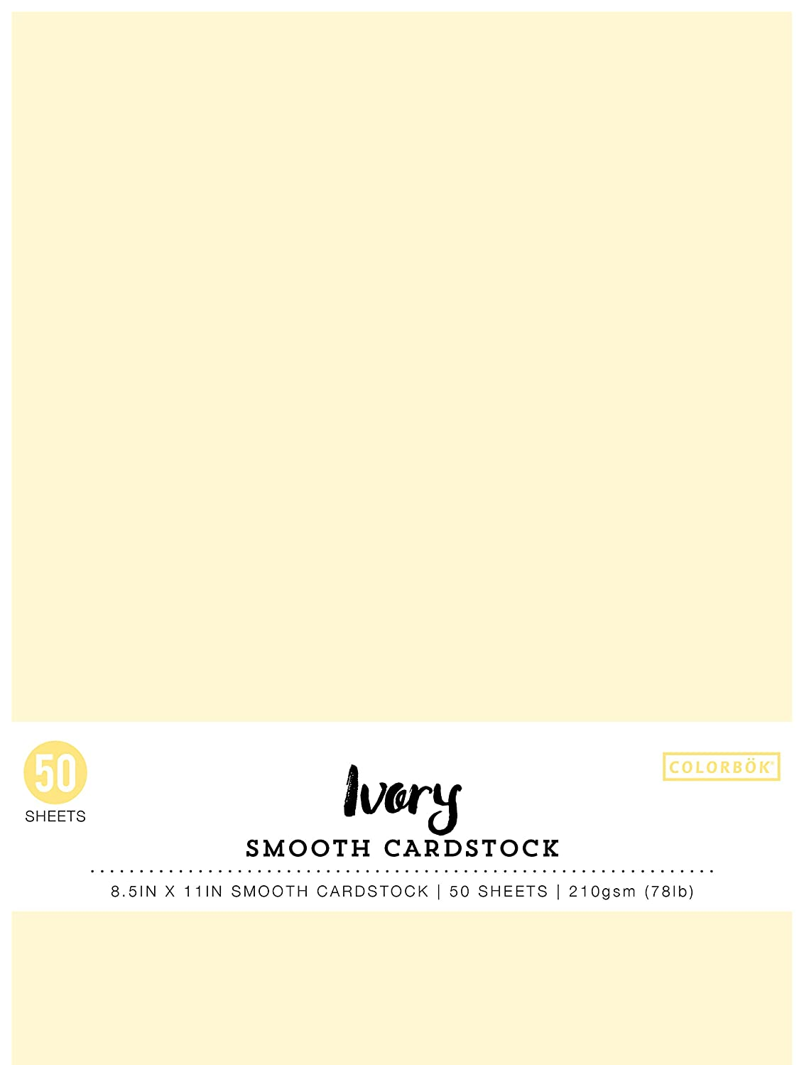 Colorbok 74222 8.5in Smooth Cardstock Ivory