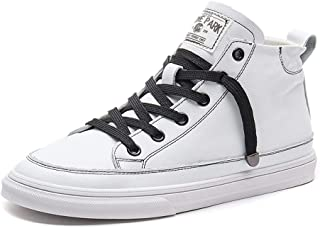 Women Lace Up High Shoes Fashion PU Leather Sneakers Flat Women's Shoes (Color : White, Size : 38)