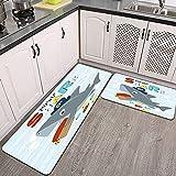 2 Piezas Alfombrillas de Cocina,Vector de Dibujos Animados Pirata tiburón Cofre del Tesoro Antideslizante Alfombra para Puerta de Baño Juego de alfombras Cocina Lavables
