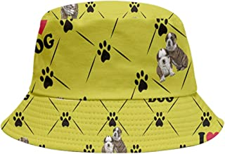 PattyCandy Green Yellow Dog Bulldog Paws Print Girls Inside Out Bucket Hat- M