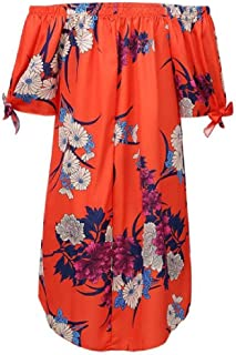 S-Fly Womens Floral Print Summer Casual Short Sleeve Off The Shoulder Blouse Shirt Tops
