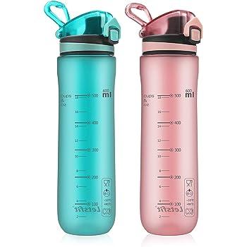 Letsfit Sports Water Bottle, BPA-Free Tritan Plastic Water Bottle with Locking Flip-Flop Lid, Leakproof and Dustproof Cap, Carry Loop, 21oz Bottle for Outdoor Hiking Camping Travel