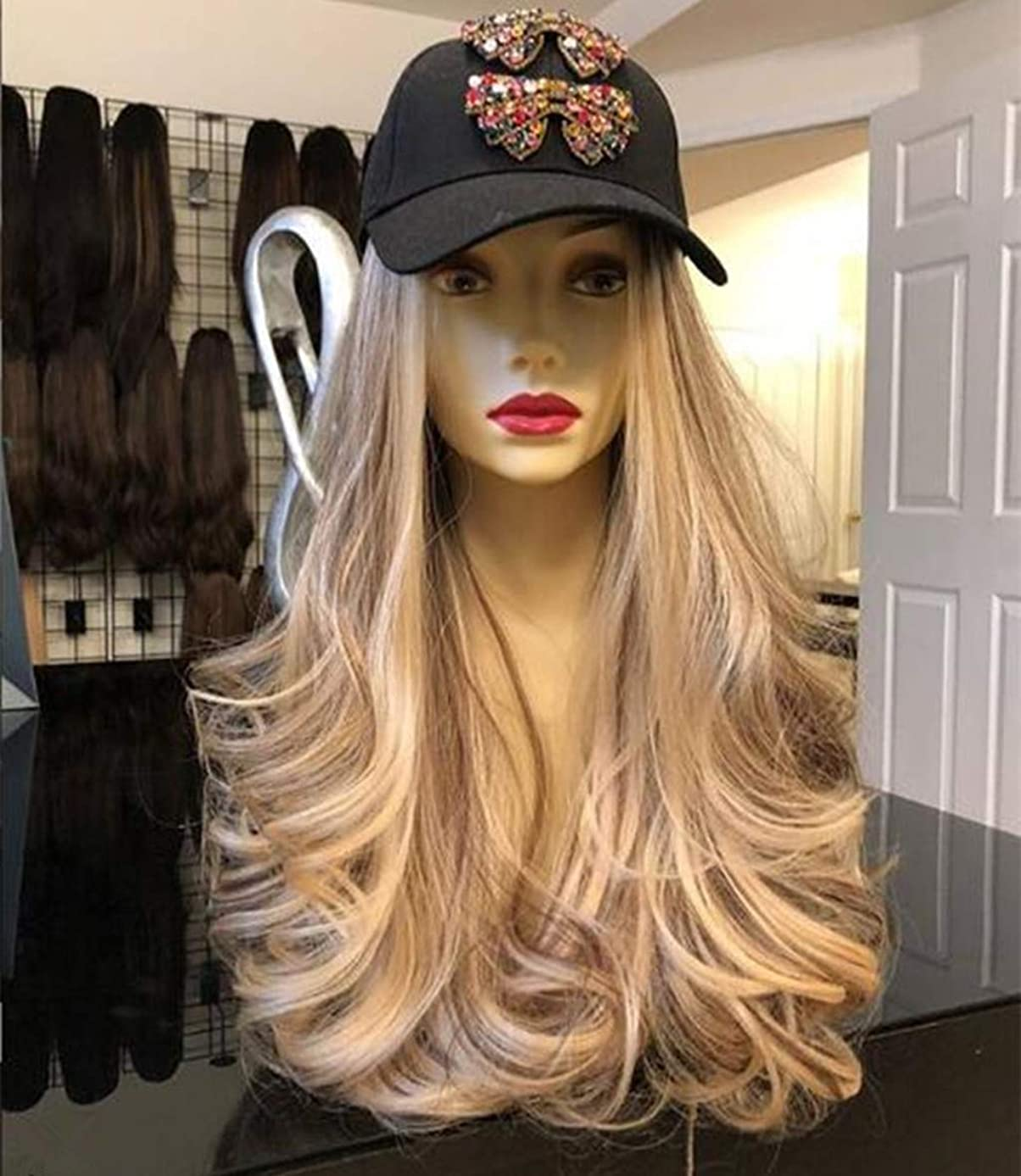 Blonde Wigs Heat Resistant Hair Gold Wigs For Women Lace Front Wigs Synthetic Hair Long Wave (A)