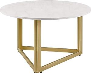 Walker Edison Furniture AZF32NIVCTWM Coffee Table, White Faux Marble