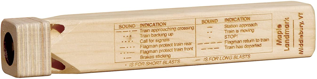 Wooden Train Whistle with Blast Chart - Made in USA