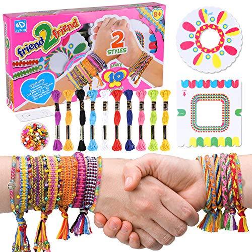Tacobear Kit de Cuentas y Hilos para Hacer Pulseras de Amistad para Niños Niñas DIY Pulseras de los Mejores Amigos con 10 Coloridas Hilos Kit de Manualidades de Pulseras Trenzadas Hechas a Mano