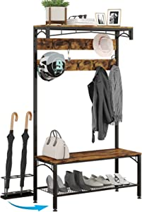 Entryway Coat Rack Shoe Bench Hall Tree SimpleWise 5 in 1 Shoe Rack for Entryway with Umbrella Holder Top Shelf Metal Frame Rack Beautiful Furniture for Entryway, Vintage Brown (Exclusive)