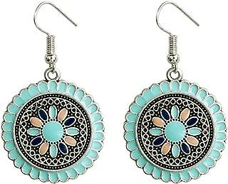BGTKD Earrings Round Sun Flower Drop Dangle Earrings For Women Big Circle Carved Hook Hanging Earring