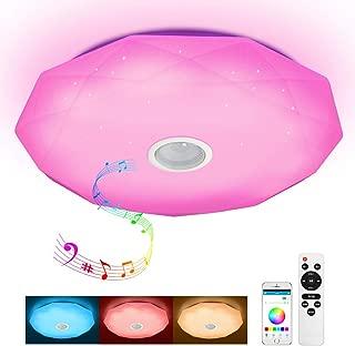 Lámpara de techo led con mando a distancia y altavoz Bluetooth (MP3, 36 W, 2800-6500 K, RGB, con cambio de color, regulable, luz blanca cálida) [Clase de eficiencia energética