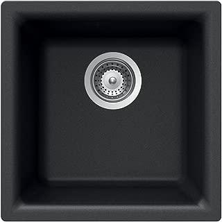 Houzer E-100 MIDNITE Quartztone Series Granite Dual Mount Bar/Prep Sink, Black