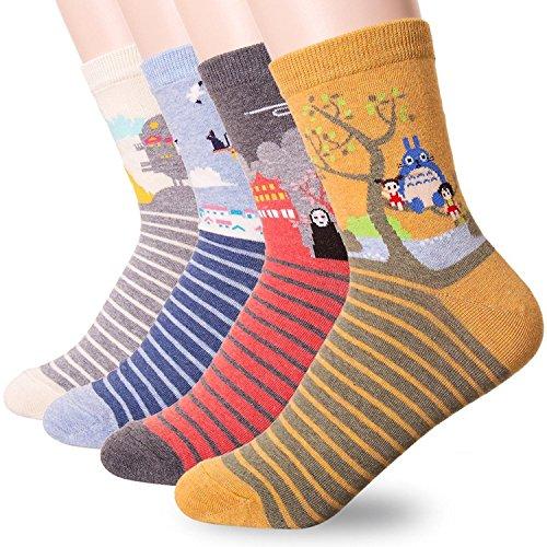 Happytree Berühmte Japanische Anime-Cartoon-Socken für Damen Gr. One size, Miyazaki Hayao 4 Pairs