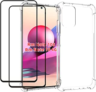 EasyLifeGo for Xiaomi Redmi Note 10 4G / Redmi Note 10S Case with Tempered Glass (2 Pieces) Slim Shock Absorption TPU Soft...