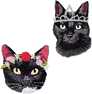 YOUOR 2 pcs Crown Cat Flower Cat Embroidery Patch Iron on Sew on Animals Applique Badge