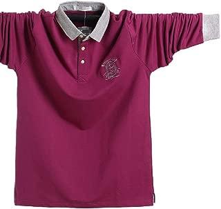 Howely Mens Turn-Down Collar Long-Sleeve Cotton Big & Tall Pony Logo Golf T-Shirts