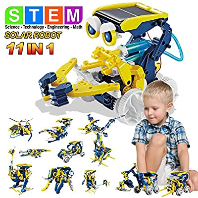 MAN NUO Solar Robot Kits for Kids 11-in-1 STEM Science Building Toys Educational & Development DIY Assembly Building Set Toy with Solar Power STEM Projects for Kids Ages 8 9 10 11 12 Birthday Gifts