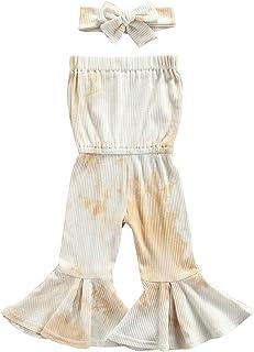 طفل الفتيات صبغ التعادل مجموعة حللا بلا أكمام قطع منخفض متوهج رومبير + عقال القوس عقدة (Color : Khaki, Kid Size : 24M)