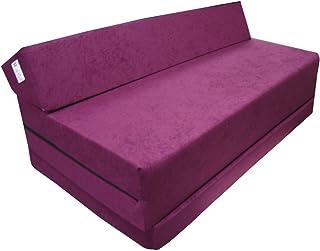 Natalia Spzoo Colchón plegable cama de invitados forma de sillón sofá de espuma 200 x 120 cm (Violeta 1224)