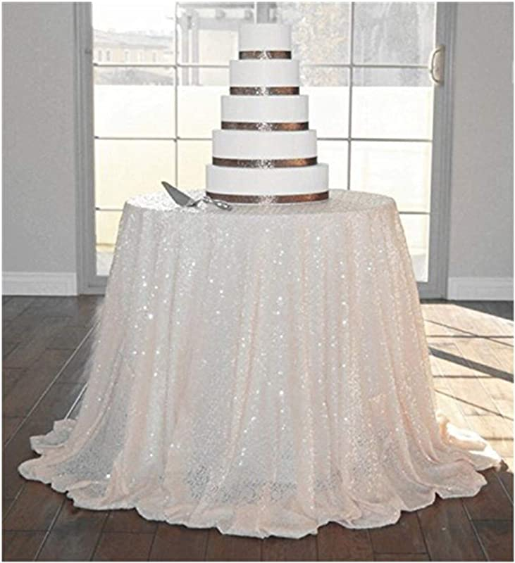 ShinyBeauty Ivory 72in Round Sequin Tablecloth For Wedding Party Decor