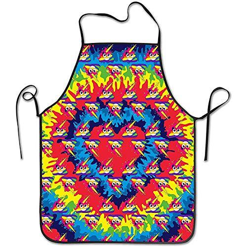 Keukenschort nekband, slabschort, kok schort, instelbare taille, kleurrijke poop barbecue grill schort, waterdicht BBQ schort