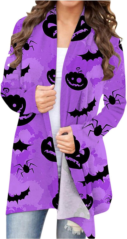 Halloween Cardigan for Women,Funny Cute Pumpkin Bat Black Cat Graphic Tops Long Sleeve Open Front Lightweight Coat