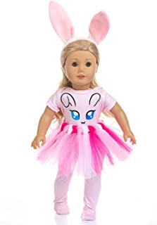 ZITA ELEMENT 4 Pcs Cute Bunny Doll Clothes with Hair Accessories Fits American 18 Inch Girl Dolls Outfits - 1 Bunny Ears Hair Band, 1 Bunny Pattern Jumpsuit, 1 Tutu Skirt and 1 Tight