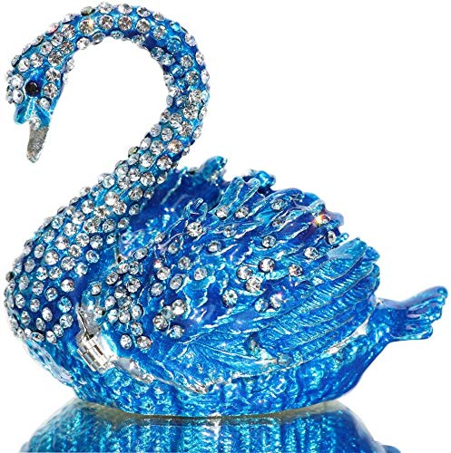 Alloy & Crystal Swan Figurine Jewelry Trinket Box Hinged Swan Ring Holder