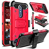 Venoro Compatible with ZTE Blade Spark Case, Heavy Duty Shockproof Full Body Protection Case Cover with Belt Swivel Clip and Kickstand Compatible with ZTE Grand X 4 (Red)